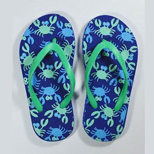 blue kids flip flops crab design